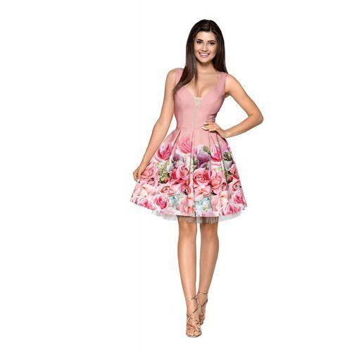 Kartes moda Pudrowa elegancka wyjściowa sukienka z szerokim dołem w kwiaty