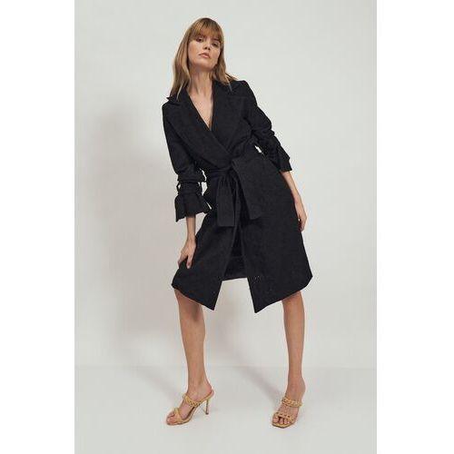 Czarny lekki płaszcz z haftowanej tkaniny, 1 rozmiar