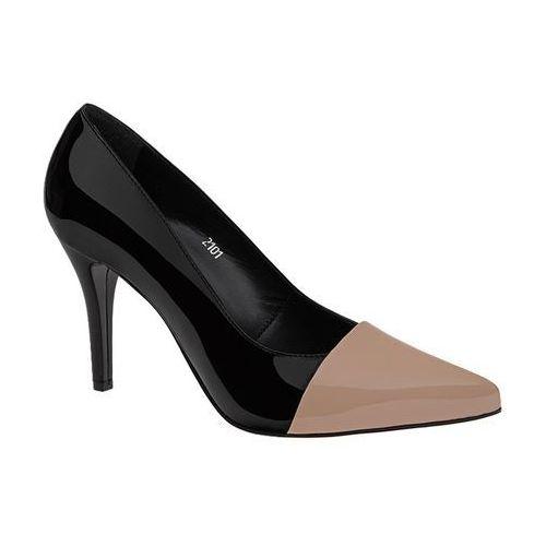 Szpilki 2101-112271+6l-n black/beige czarne+beż lakierki - czarny ||beżowy marki Mateo palazzo