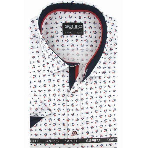 Sefiro Koszula męska biała w czerwone wzory slim fit na krótki rękaw k778