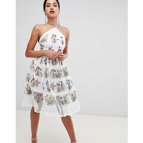 e03df13e56 Rare London mesh flower midi dress - White