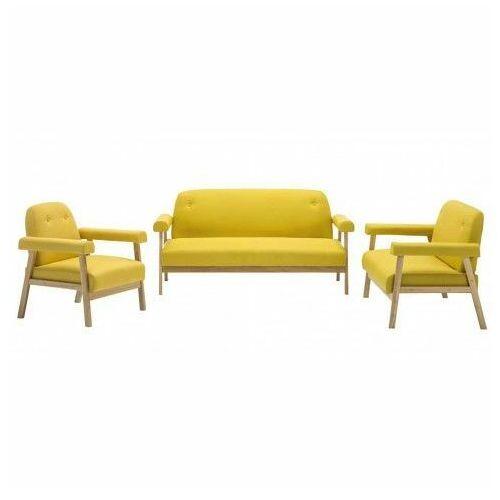 Producent: elior Drewniany tapicerowany zestaw wypoczynkowy eureka 2x - żółty
