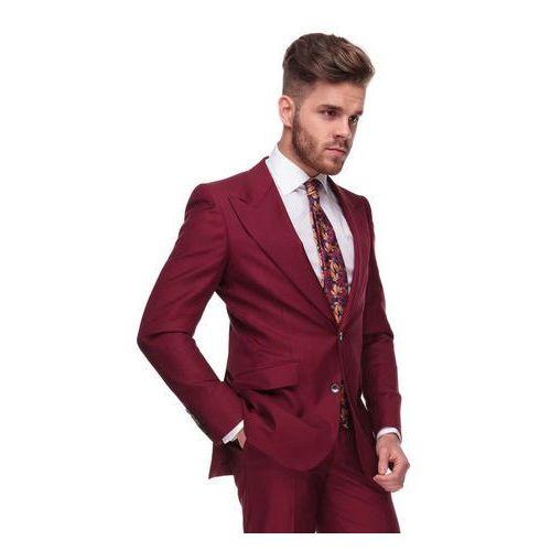 Bordowy garnitur męski z szerokimi klapami w szpic UMBRIA szyty na miarę, kolor czerwony