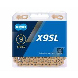 Łańcuch KMC X9SL Ti-N Złoty, 114 ogniw, 6,6mm, 9-rzędowy, BX09SLT14