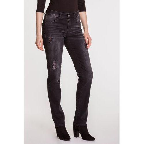 Czarne spodnie jeansowe z ozdobnymi przetarciami DAISY, jeans