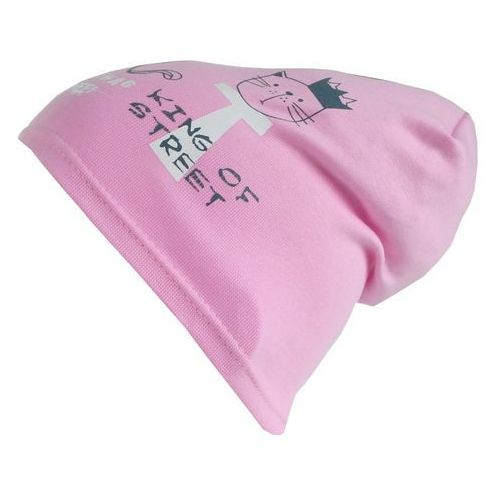 Czapka dziecięca bawełna kotki beanie krasnal różowa - cd05-2 marki Tara