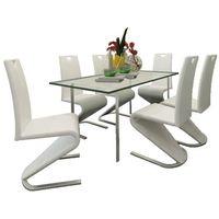 vidaXL Zestaw 6 krzeseł białych ze sztucznej skóry z podstawą w kształcie U (8718475902560)