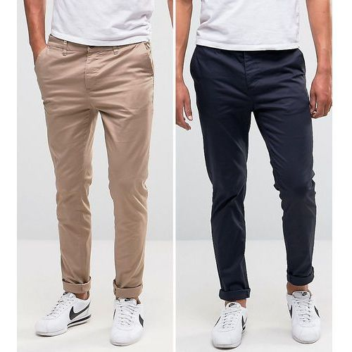 2 pack skinny chinos in navy & stone save - navy Asos