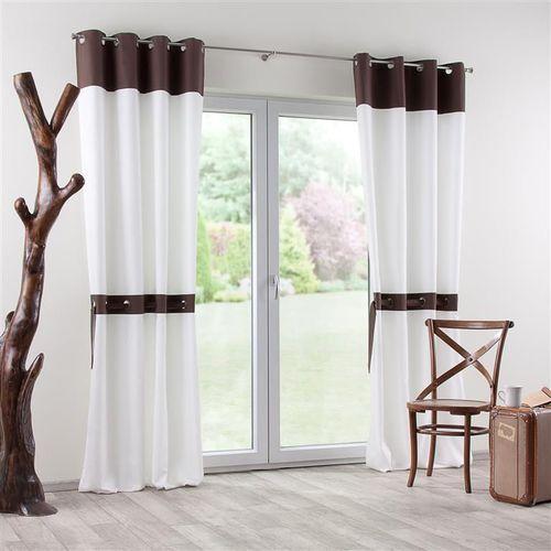 zasłona duo z wiązaniem na kółkach white&brown, 130 × 260 cm marki Dekoria