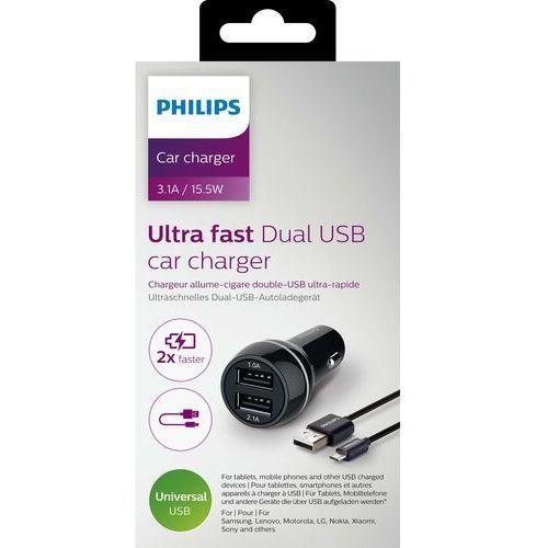 Philips Ładowarka ładowarka samochodowa 2xusb 5v, 3.1a, 15.5w + kabel usb (typ a) na micro usb, czarna / philips - dlp2357u/10 darmowy odbiór w 21 miastach! (4895185614496)