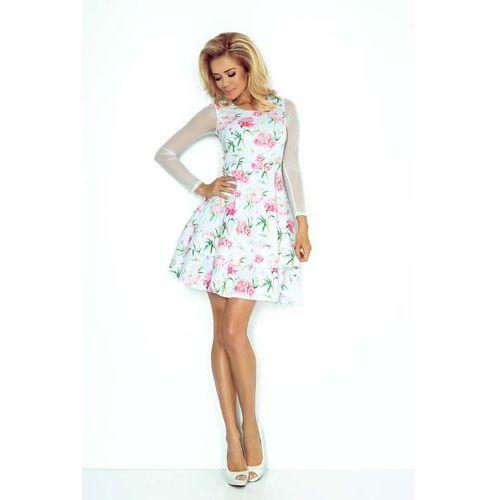 b7a72cf9b6 Zobacz ofertę Sukienka Wizytowa Rozkloszowana z Transparentnymi Rękawami -  Różowe Kwiaty