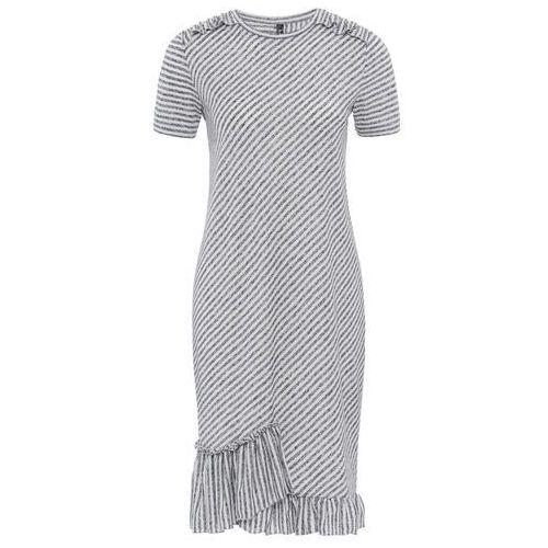 Sukienka shirtowa bonprix szaro-biały w paski