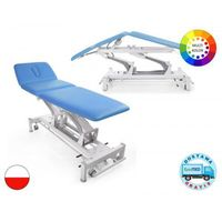 Stół rehabilitacyjny terapeuta m-p3.f4 z elektryczną regulacją wysokości z ramy oraz pozycją pivota i funkcją fotela marki Meden-inmed