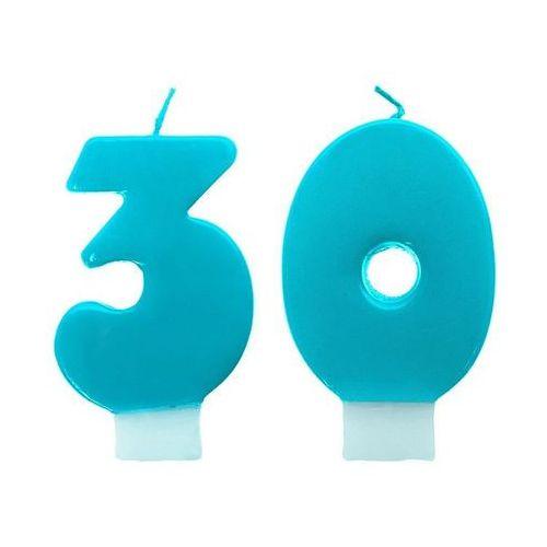 Ap Świeczki cyferki turkusowe - 30 - trzydziestka - 2 szt