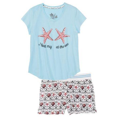 a60608415c9d79 Zobacz w sklepie Piżama z krótkimi spodenkami bonprix niebieski topaz z  nadrukiem, bawełna