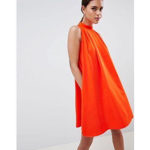 Y.a.s high neck sleeveless swing dress - orange