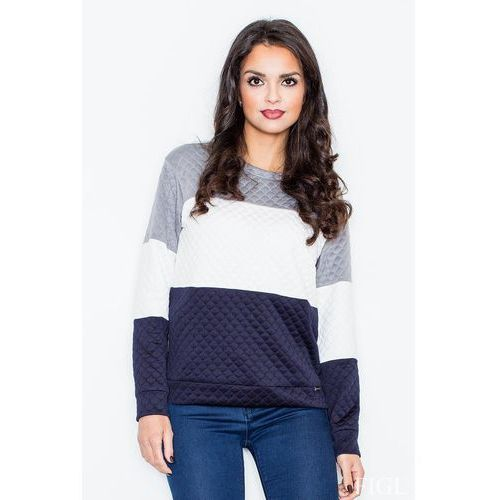 Granatowo-biała klasyczna prosta pikowana bluza marki Figl