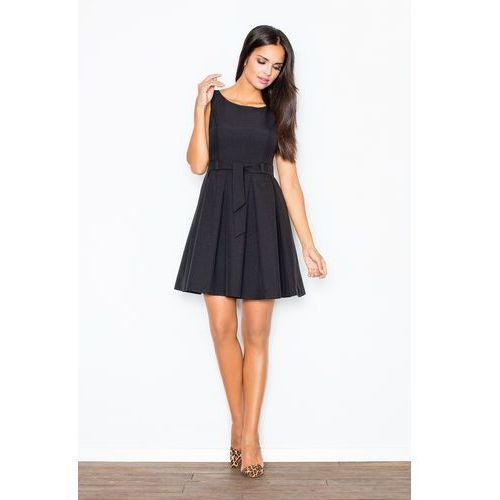 Czarna elegancka sukienka z modnymi plisami +pasek, Figl, 40-42