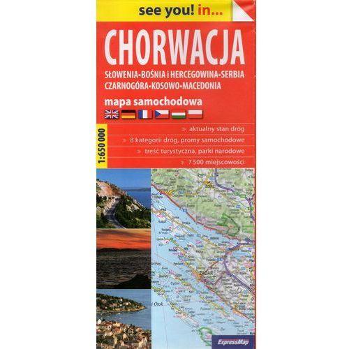 Chorwacja, Słowenia, Bośnia i Hercegowina, Serbia, Czarnogóra, Kosowo, Macedonia mapa samochodowa 1