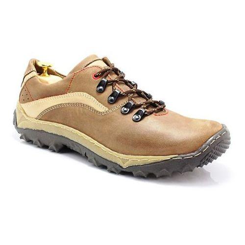 Kent 268 brąz - polskie buty trekkingowe, skóra - brązowy ||beżowy