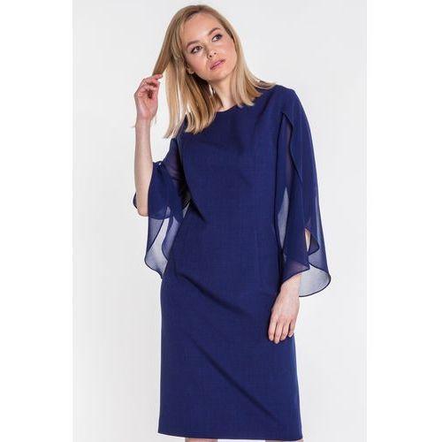 12a748a91b Szyfonowa sukienka z rozłożystymi rękawami - Studio Mody Francoise - Foto