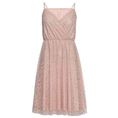 e4d3a4e727 Zobacz ofertę Sukienka z metalicznym nadrukiem bonprix stary jasnoróżowy -  srebrny