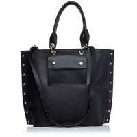 Czarna stylowa torba z metalowymi nitami