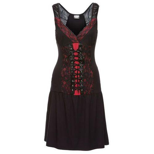 Sukienka gorsetowa z szyfonem czarno-czerwony chili Bonprix