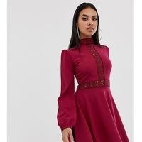 eeaba9b19e PrettyLittleThing skater mini dress with lace panel detail in burgundy - Red