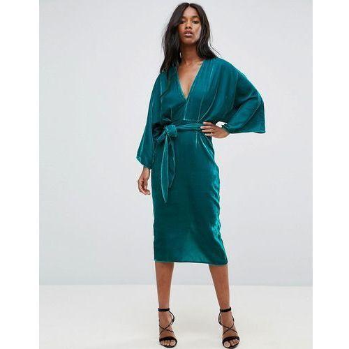 00bce81eca Zobacz ofertę ASOS Velvet Plunge Kimono Midi Dress with Tie Waist - Green