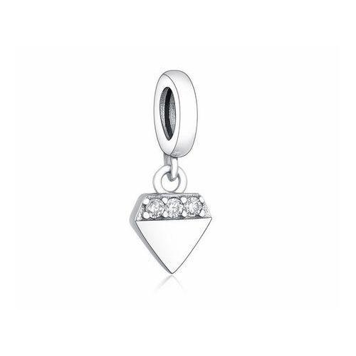 Rodowany srebrny wiszący charms do pandora little diament diamond srebro 925 NEW328, kolor szary