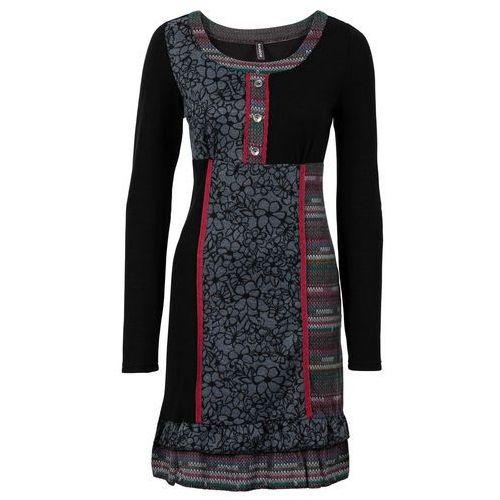 Sukienka dzianinowa z kolorowymi wstawkami czarny, Bonprix, 32-50