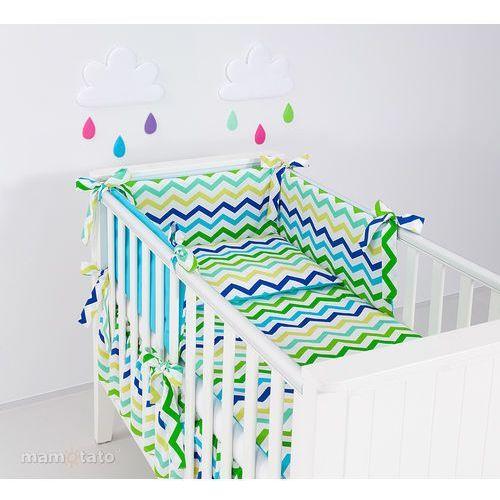 Mamo-tato ochraniacz rozbieralny do łóżeczka 60x120 zygzak niebiesko-zielony / niebieski