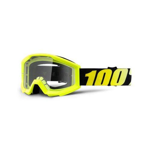 100% Strata Anti Fog Clear Gogle Dzieci, neon yellow 2019 Okulary przeciwsłoneczne dla dzieci