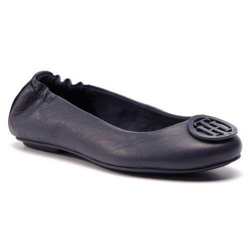 85cff8bc38817 Tommy Hilfiger Baleriny - flexible leather balerina fw0fw04073 tommy navy  406