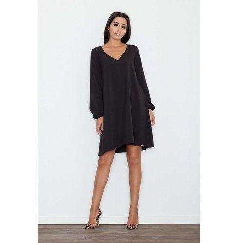 dff615a7ac Czarna sukienka trapezowa z długim rękawem