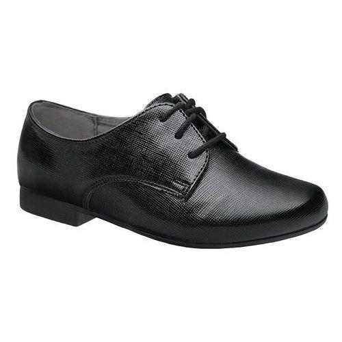 Półbuty buty komunijne Lakierki KORNECKI 4060 Czarne Kratka wizytowe - Czarny, kolor czarny