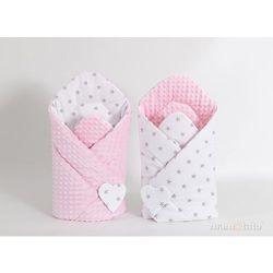 Mamo-tato rożek niemowlęcy dwustronny minky gwiazdki szare na bieli / jasny róż