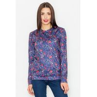 Granatowa klasyczna bluza w kolorowe kwiaty
