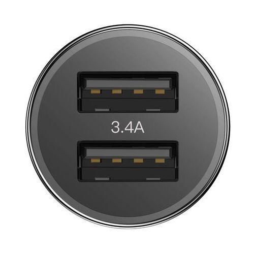 Baseus small screw 3.4a inteligentna ładowarka samochodowa 2x usb + kabel usb typ-c 1m 2a czarny (tzxld-b01) (6953156271418)
