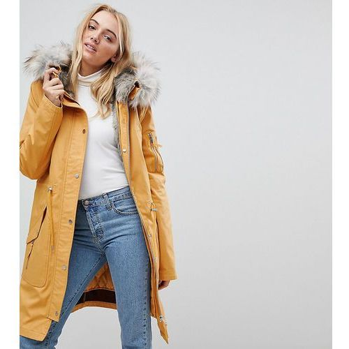 47221568dac27 Parka with Detachable Faux Fur Liner - Stone (ASOS Tall) - sklep ...