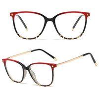 Okulary damskie zerówki czerwone kujonki czarne