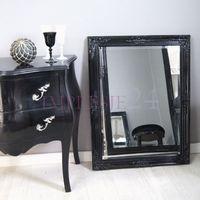 Lustro w czarnej, drewnianej ramie, styl rustykalny.