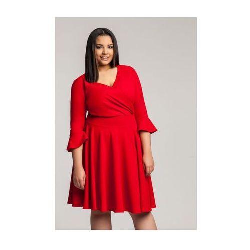Zoe red wizytowa sukienka plus size z falbaną (20inlove