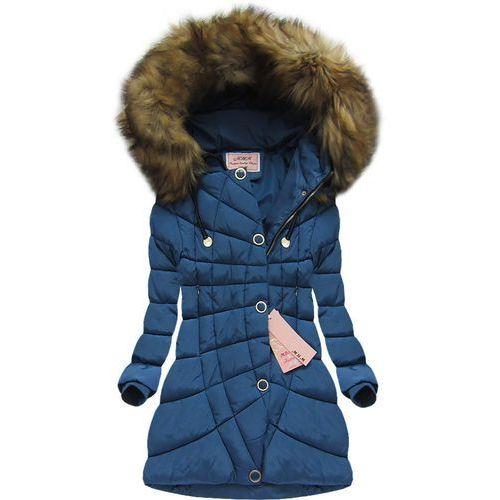 Pikowana kurtka z kapturem ciemnoniebieska (w703) - niebieski marki Mhm