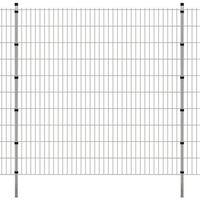 vidaXL Panele ogrodzeniowe 2D z słupkami - 2008x2030 mm 24 m Srebrne