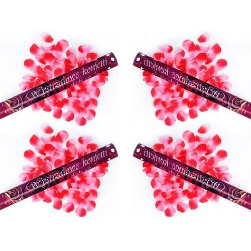 Tuba strzelająca, różowe sztuczne płatki róż, 80 cm, 4 szt. marki Party deco