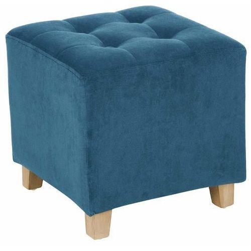 Stylowy, welurowy puf, siedzisko o kompaktowych wymiarach 35 x 35 cm, z drewnianymi, sosnowymi nóżkami, kolor obicia niebieski marki Atmosphera créateur d'intérieur