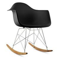 aurel fotel bujany w stylu retro siedzisko z polipropylenu drewno brzozowe czarny marki Oneconcept