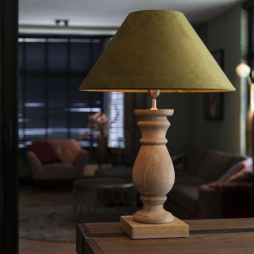 Rustykalna lampa stołowa klosz aksamitny zielony mech 50 cm catnip (QAZQA)